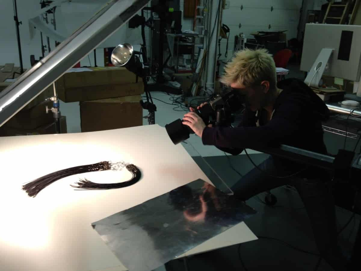 Julie Stanley shooting the Ison necklace for Michelle Pajak-Reynolds Hypatia collection lookbook.