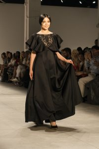 A model on the runway of the Dan Liu NYFW collection