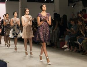 Models on the runway of the Dan Liu NYFW collection