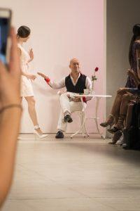 Designer on the runway of the Dan Liu NYFW collection
