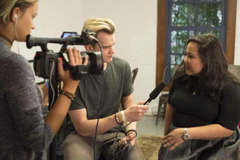 Interviewing the designer at the Jasmine Chong NYFW presentation.