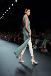 A model walking the runway during John Paul Ataker's NYFW collection