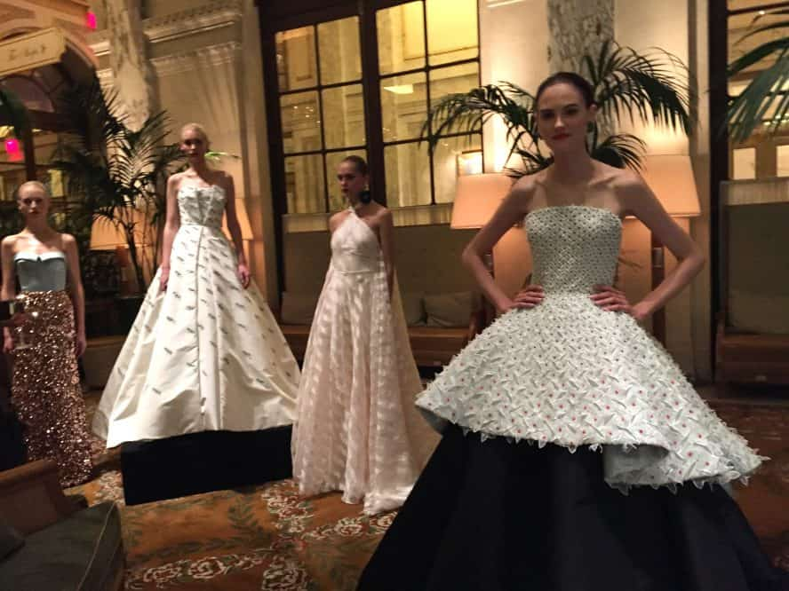 Models wearing dresses from the Elizabeth Kennedy collection at NYFW.