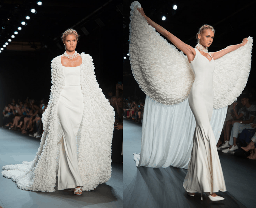 Ivory double dresses with sheer mesh ruffled wings and capes from the John Paul Ataker NYFW Spring / Summer 2017 Runway