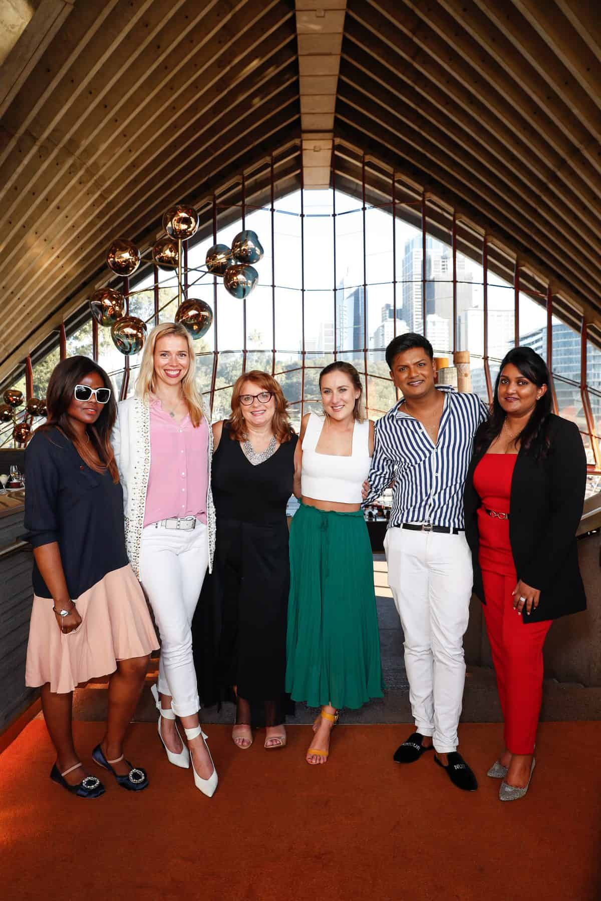 Camille Reed, Melissa Shea, Sophie Muir, Kristian Chase and Sneha Andani attend the Fashion Mingle Australia VIP Luncheon at Bennelong Restaurant Sydney Opera House on May 14, 2019 in Sydney, Australia. (Photo by Hanna Lassen/Getty Images for Fashion Mingle)