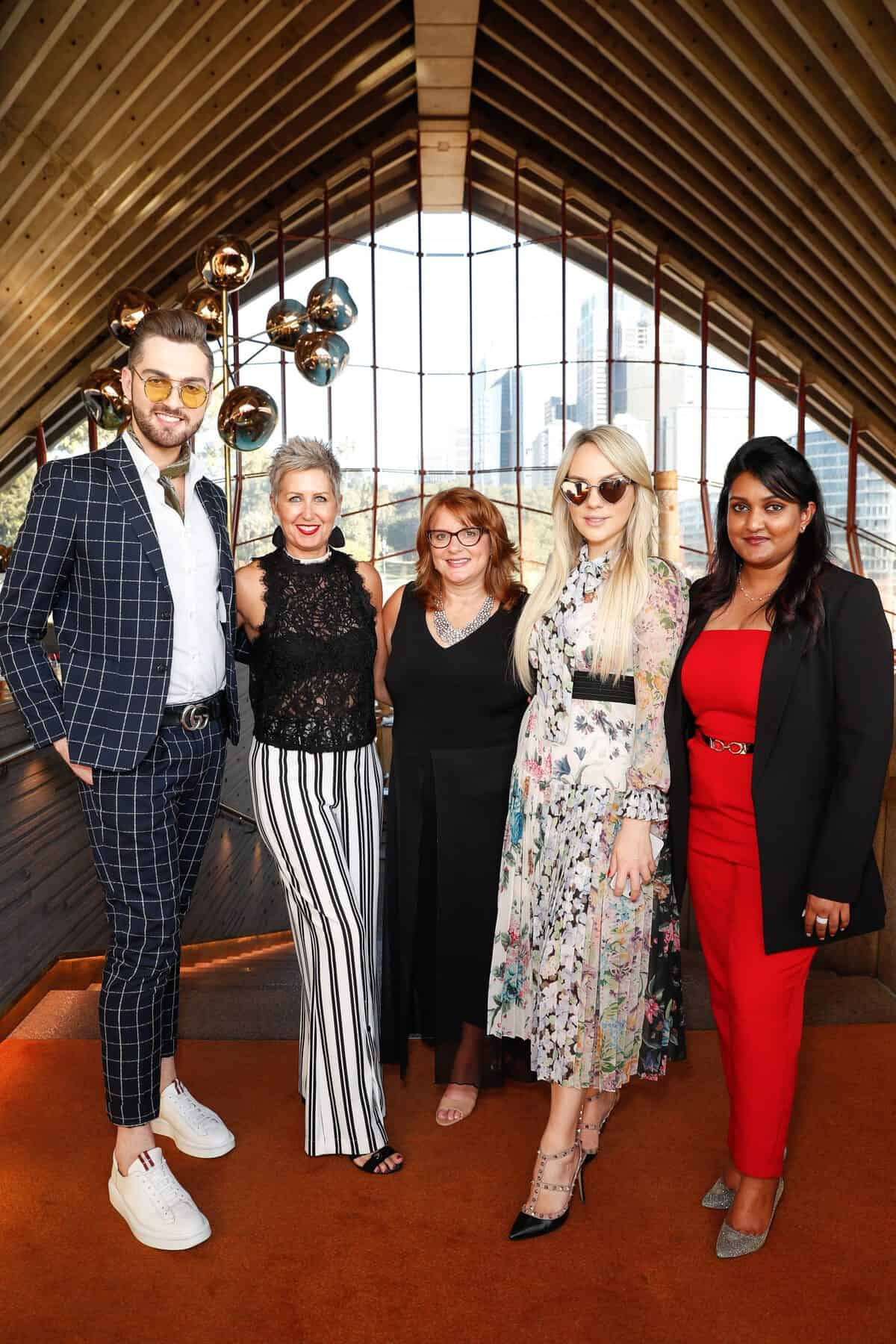 Bryce Alexander Mcintosh and Sarah Starvrow, Jude Kingston, Melissa Shea and Sneha Andani attend the Fashion Mingle Australia VIP Luncheon at Bennelong Restaurant Sydney Opera House on May 14, 2019 in Sydney, Australia. (Photo by Hanna Lassen/Getty Images for Fashion Mingle)