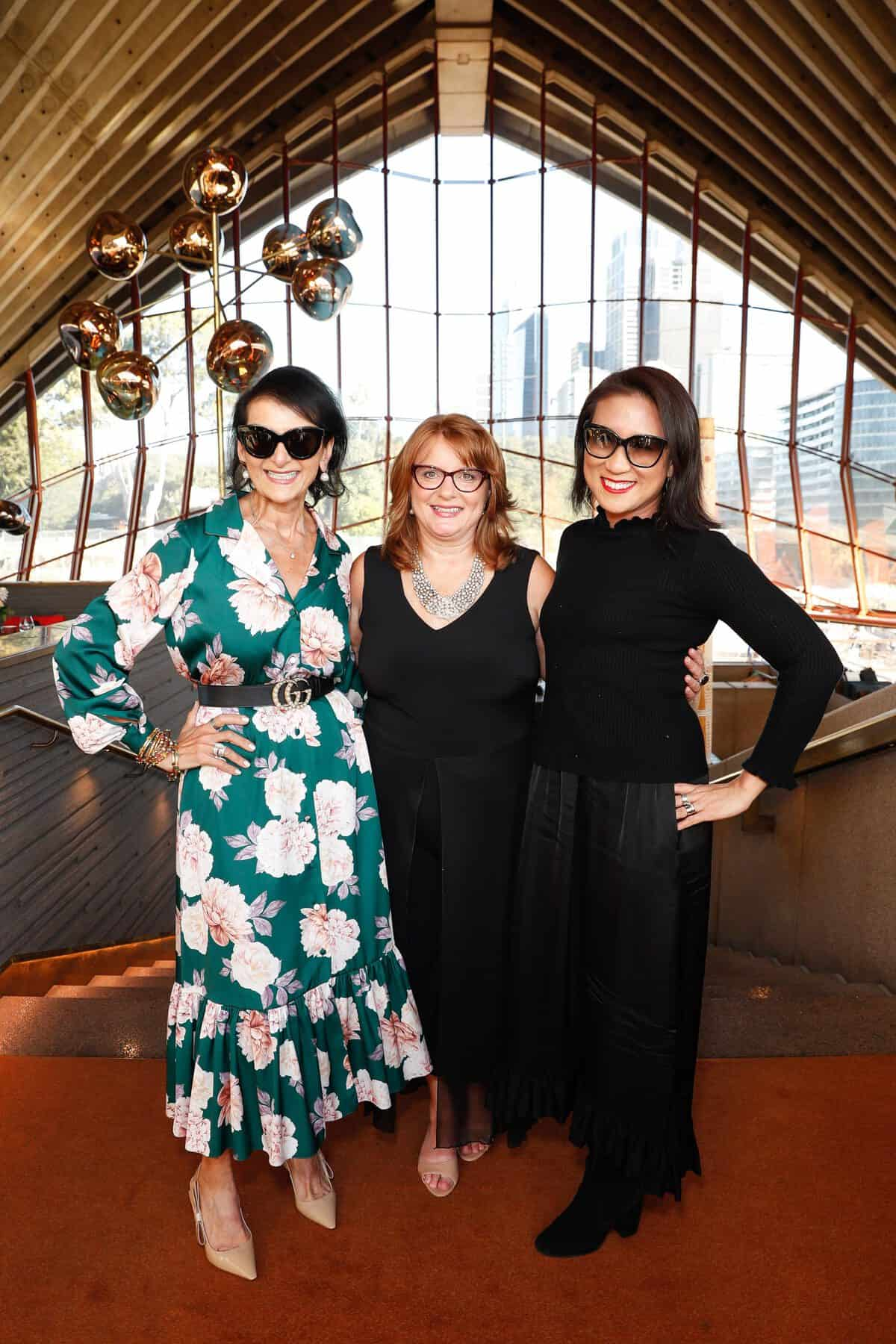 Marilyn Bracks, Melissa Shea and Sneha Andani attend the Fashion Mingle Australia VIP Luncheon at Bennelong Restaurant Sydney Opera House on May 14, 2019 in Sydney, Australia. (Photo by Hanna Lassen/Getty Images for Fashion Mingle)