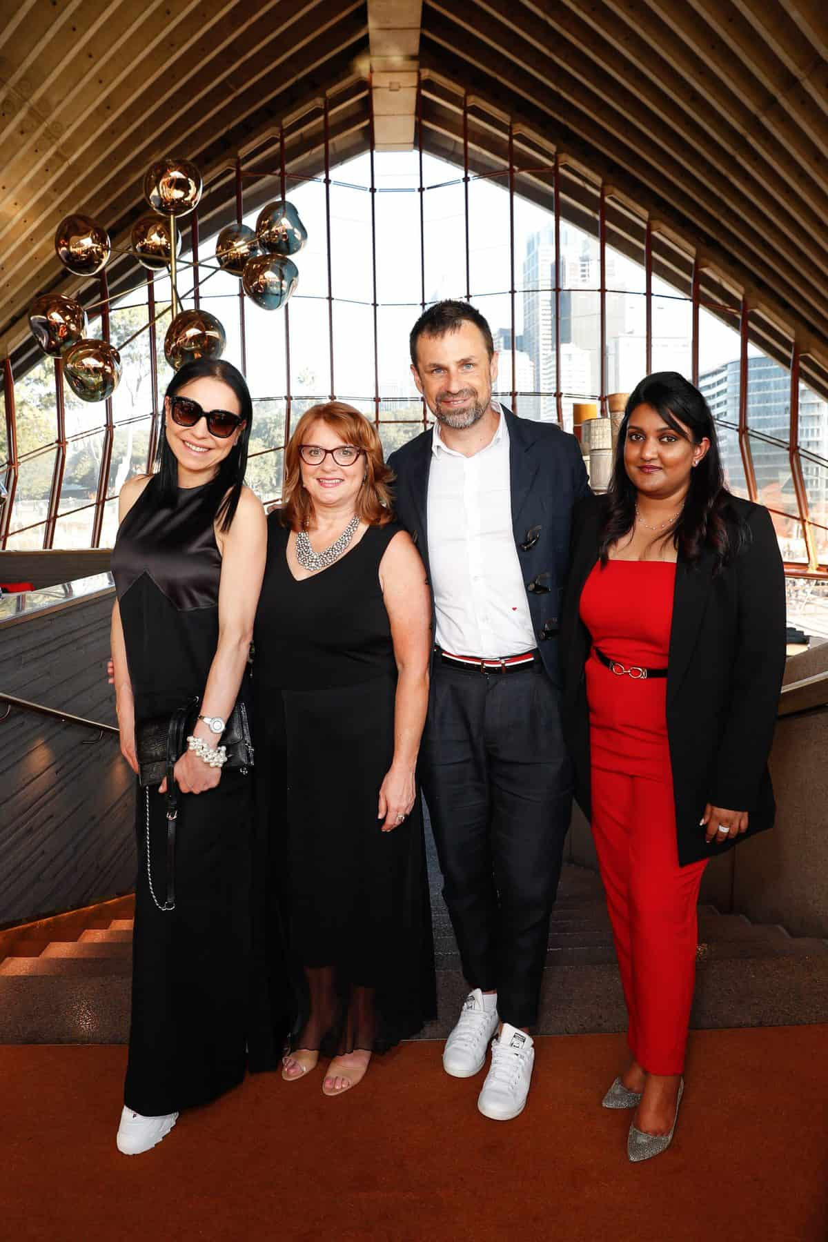 Dora Staszko, Kris Kuczynski, Melissa Shea and Sneha Andani (R) attend the Fashion Mingle Australia VIP Luncheon at Bennelong Restaurant Sydney Opera House on May 14, 2019 in Sydney, Australia. (Photo by Hanna Lassen/Getty Images for Fashion Mingle)