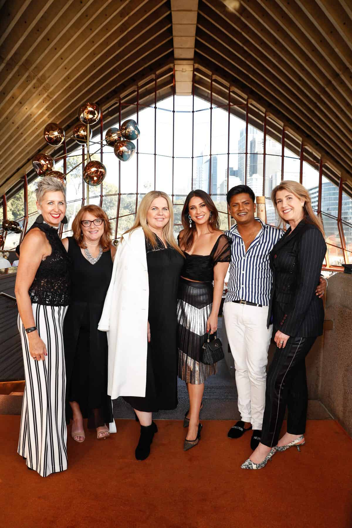 Jude Kingston, Melissa Shea, Vesna Perry, Sonya Mefaddi, Kristian Chase and Mary Centofanti attend the Fashion Mingle Australia VIP Luncheon at Bennelong Restaurant Sydney Opera House on May 14, 2019 in Sydney, Australia. (Photo by Hanna Lassen/Getty Images for Fashion Mingle)